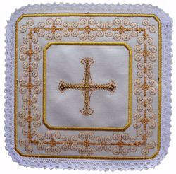 Picture of Liturgical Square Pall with Lace Embroidered Cross & Assisi embroidery in Satin Silk Ivory Red Green Purple Chorus Altar Linen Chalice Cover