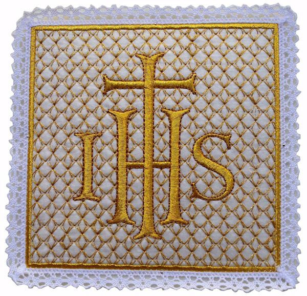 Immagine di Palla liturgica quadrata con Merletto Ricamo Croce IHS in Raso di seta Avorio Rosso Verde Viola Chorus Animetta Copricalice da Altare