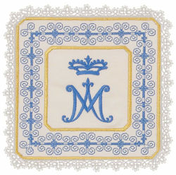 Picture of Liturgical Square Pall with Lace Marian Embroidery in Satin Silk Ivory Chorus Altar Linen Chalice Cover