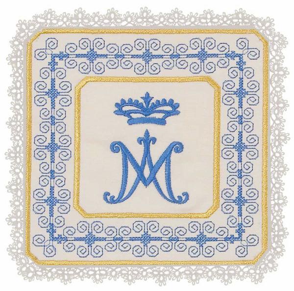 Imagen de Palia litúrgica cuadrada con Encaje y bordado Mariano en Satén de seda Marfil Chorus Hijuela cubre Cáliz de Altar