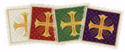 Picture of Liturgical Square Pall with Lace Net Embroidery & Cross in Satin Silk Ivory Red Green Purple Chorus Altar Linen Chalice Cover