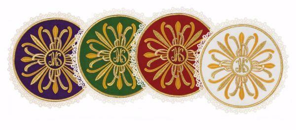 Imagen de Palia litúrgica redonda con Encaje y bordado Rayos y IHS en Satén de seda Marfil Rojo Verde Morado Chorus Hijuela cubre Cáliz de Altar