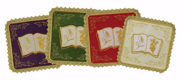 Picture of Liturgical Square Pall with Lace Embroidered Book in Satin Silk Ivory Red Green Purple Chorus Altar Linen Chalice Cover