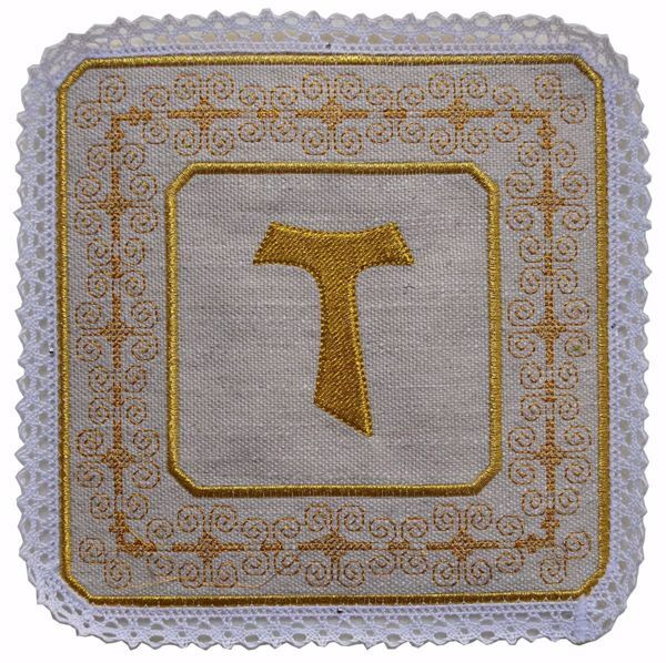 Picture of Liturgical Square Pall with Lace Embroidered Tau Cross & Assisi embroidery in Hemp and Linen blend Ecru Ivory Chorus Altar Linen Chalice Cover