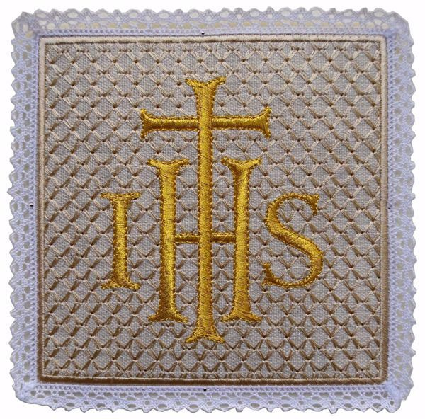 Picture of Liturgical Square Pall with Lace Embroidered Cross IHS in Hemp and Linen blend Ecru Ivory Chorus Altar Linen Chalice Cover