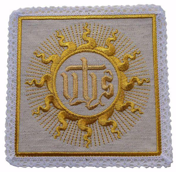 Imagen de Palia litúrgica cuadrada con Encaje y bordado IHS San Bernardino en mezcla de Cáñamo y Lino Marfil Ecru Chorus Hijuela cubre Cáliz de Altar
