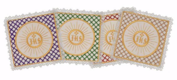 Picture of Liturgical Square Pall with Lace Embroidered Host in Satin Silk Ivory Red Green Purple Chorus Altar Linen Chalice Cover