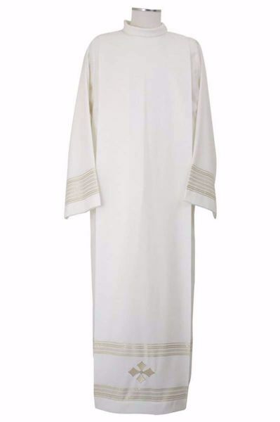 Picture of Liturgical Alb with Folds with Embroidered golden Cross in Extra-light Wool Ivory Chorus