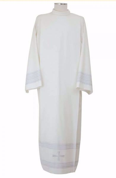 Picture of Liturgical Alb with Folds with Embroidered simple Cross in Extra-light Wool Ivory Chorus