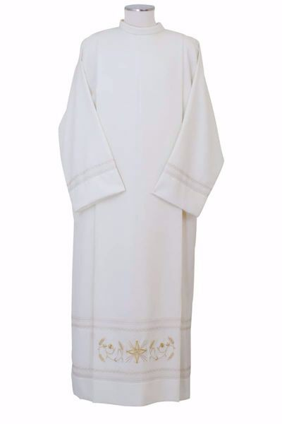 Picture of Liturgical Alb with Folds Embroidered Gold Wheat in Extra-light Wool Ivory Chorus