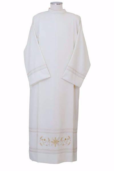 Imagen de Alba litúrgica con Pliegues y Bordado Espigas de Trigo Oro en Lana Ligera Marfil Chorus