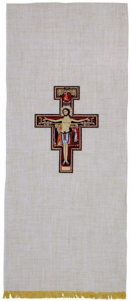 Picture of Church Lectern Cover with St. Damian Cross in Hemp and Linen blend Ecru Ivory Chorus
