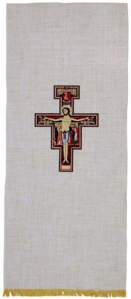 Imagen de Paño Cubre Atril Iglesia Bordado Cruz S. Damián en mezcla de Cáñamo y Lino Marfil Ecru Chorus
