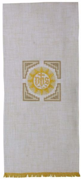 Picture of Church Lectern Cover with Embroidered St. Bernardine IHS in Hemp and Linen blend Ecru Ivory Chorus