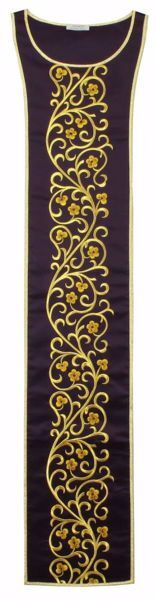 Picture of Liturgical Stole with floral embroidery in Satin Silk Ivory Red Green Purple Chorus