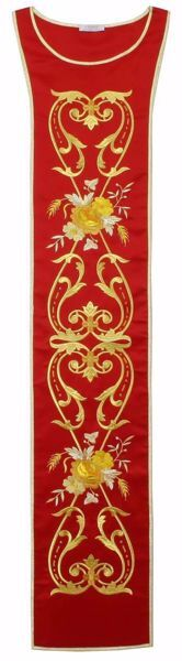 Picture of Liturgical Stole with Golden floral embroidery in Satin Silk Ivory Red Green Purple Chorus