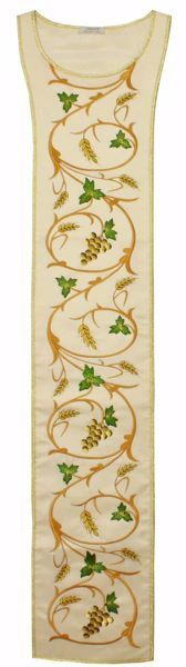 Picture of Liturgical Stole with Embroidered Grapes Wheat in Satin Silk Ivory Red Green Purple Chorus
