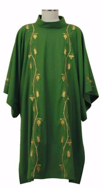 Picture of Deacon Liturgical Dalmatic Embroidered with Wheat Grapes in pure Polyester Ivory Red Green Purple Chorus