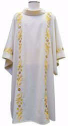Picture of Deacon Liturgical Dalmatic Embroidered with Wheat Grapes in pure Wool Ivory Red Green Purple Chorus