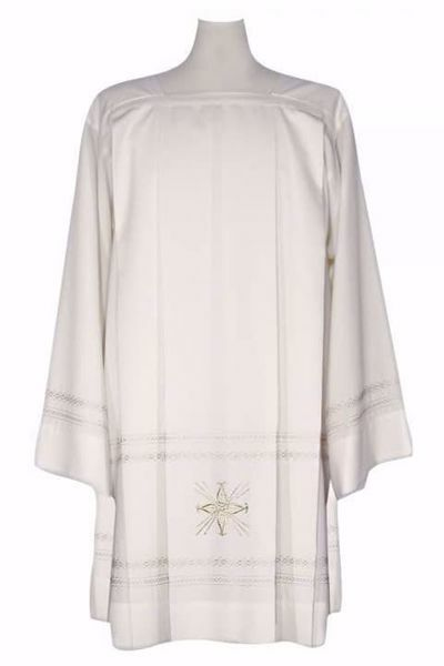 Picture of Priestly Liturgical Surplice with embroidered Gold Wheat in Extra-light Wool Ivory Chorus