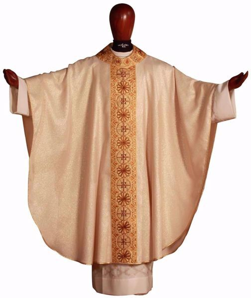 Picture of Gothic Chasuble Round Collar with Embroidery Golden Orphrey and Neck in Laminated Wool Ivory Red Green Purple Chorus