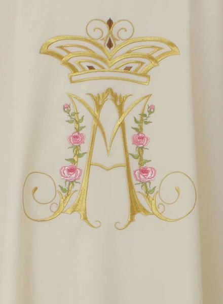 Picture of Marian Chasuble Marian Embroidery in pure Laminated Wool Ivory Red Green Purple Chorus