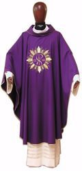 Picture of Liturgical Chasuble Embroidered Pax Golden Rays in pure Laminated Wool Ivory Red Green Purple Chorus