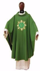 Picture of Liturgical Chasuble Embroidered IHS Golden Rays in pure Laminated Wool Ivory Red Green Purple Chorus