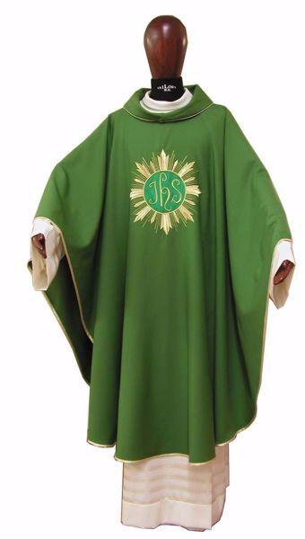 Immagine di Casula Liturgica Ricamo IHS e Raggi Oro Lana laminata Avorio Rosso Verde Viola Chorus