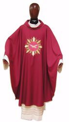 Picture of Liturgical Chasuble Embroidered Holy Spirit Golden Rays in pure Laminated Wool Ivory Red Green Purple Chorus