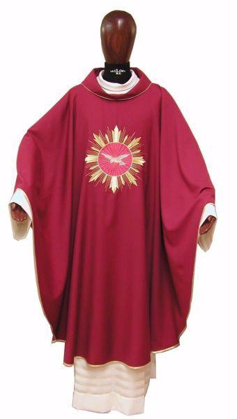 Immagine di Casula Liturgica Ricamo Spirito Santo e Raggi Oro Lana laminata Avorio Rosso Verde Viola Chorus