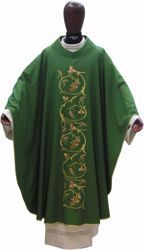 Picture of Liturgical Chasuble Embroidered Grapes Wheat in pure Laminated Wool Ivory Red Green Purple Chorus