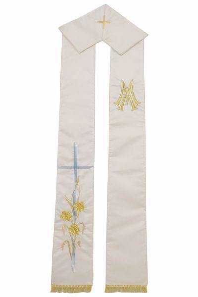 Picture of Priest Deacon Marian Stole with Blue embroidered Cross Lilies M in Satin Silk Ivory Chorus