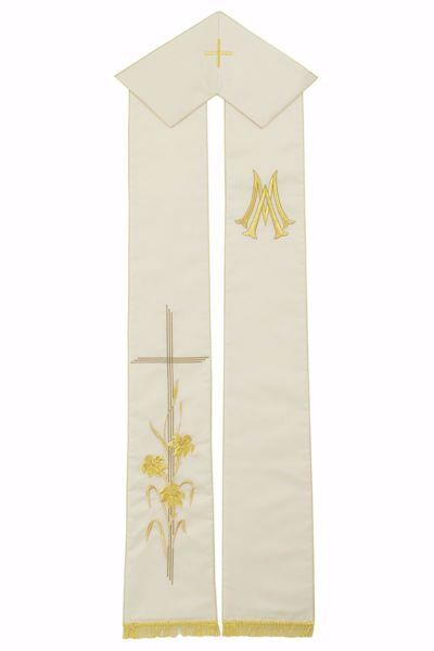 Picture of Priest Deacon Marian Stole with golden embroidered Cross Lilies M in Satin Silk Ivory Chorus