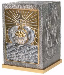Picture of Altar Tabernacle with Exposition cm 46x33x33 (18,1x13,0x13,0 inch) Loaves Fishes in bronze with bicolor Door Silver for Church