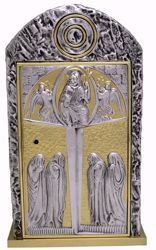 Picture of Altar Tabernacle cm 46x27x27 (18,1x10,6x10,6 inch) Christ Pantocrator in bronze with bicolor Door Gold Silver for Church