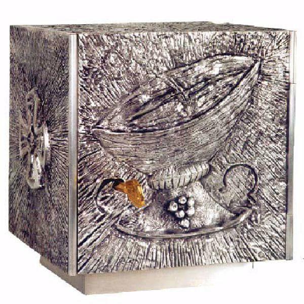 Imagen de Sagrario de mesa cm 20x18x18 (7,9x7,1x7,1 inch) Canasta de Pan de bronce Oro Plata Tabernáculo de Altar Iglesia