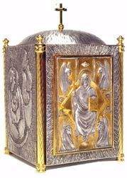 Picture of Altar Tabernacle cm 62x37x37 (24,4x14,6x14,6 inch) Christ Pantocrator Four Evangelists in bronze with bicolor Door Gold Silver for Church