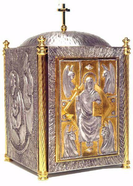 Immagine di Tabernacolo da Mensa cm 62x37x37 (24,4x14,6x14,6 inch) Cristo Pantocratore Evangelisti bronzo Porta bicolore Oro Argento Ciborio da Altare