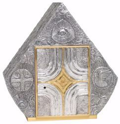 Picture of Altar Tabernacle cm 43,5x42x25 (17,1x16,5x9,8 inch) Eye of God religious Symbols Cross bronze with bicolor Door Gold Silver for Church