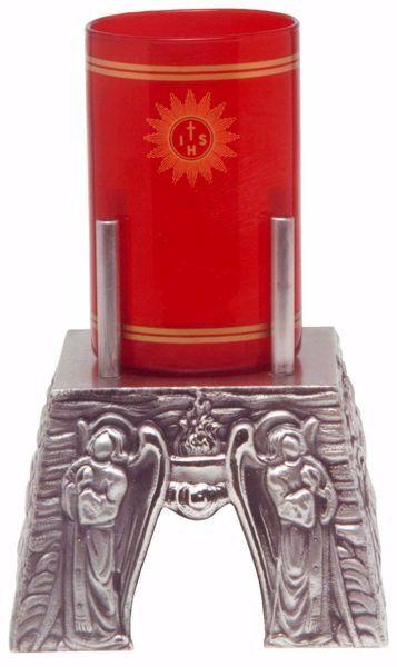 Immagine di Lampada da Altare Santissimo Sacramento H. cm 9 (3,5 inch) Angeli in Preghiera Fiamme bronzo Oro Argento Portalampada da Mensa