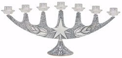 Imagen de Candelero litúrgico de Altar 7 velas cm 67x30 (26,4x11,8 inch) Estrella Espigas de Trigo Llamas de bronce Oro Plata Portavela de Mesa Iglesia