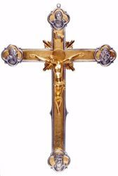 Picture of Wall mounted Crucifix cm 50x35 (19,7x13,8 inch) Crucifix Four Evangelists in bronze Gold Silver Bicolor Cross for Churches
