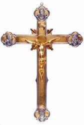 Immagine di Crocifisso da muro cm 50x35 (19,7x13,8 inch) Crocifisso Quattro Evangelisti in bronzo Oro Argento Bicolor Croce da Parete per Chiesa