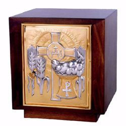 Picture of Altar Tabernacle cm 29x26x26 (11,4x10,2x10,2 inch) Olives Ears of Wheat IHS Pax Chalice Cross in wood Silver Bicolor for Church