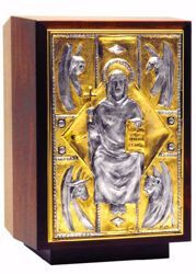 Picture of Altar Tabernacle cm 41x29x28 (16,1x11,4x11,0 inch) Christ Pantocrator Four Evangelists in wood Silver Bicolor for Church