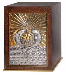Immagine di Tabernacolo da Mensa grande con Esposizione cm 35x35x46 (13,8x13,8x18,1 inch) Croce IHS Pani Pesci legno Bicolor Ciborio da Altare