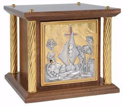 Picture of Small size Altar Tabernacle 4 Columns cm 35x35x33 (13,8x13,8x13,0 inch) Boat Grapes Ears of Wheat wood with bicolor Door Bicolor for Church