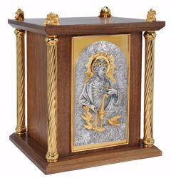 Picture of Altar Tabernacle cm 40x40x50 (15,7x15,7x19,7 inch) Sacred Heart of Jesus in wood Bicolor for Church
