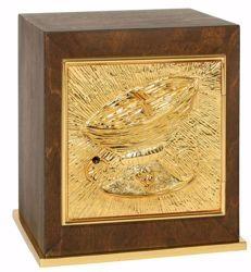 Imagen de Sagrario de mesa pequeño cm 22x22x26 (8,7x8,7x10,2 inch) Canasta de Pan de madera Oro Tabernáculo de Altar Iglesia